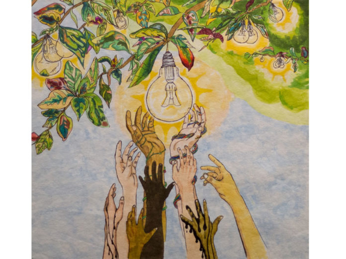 'Light Up the World,' was chosen the winner of the sixth annual SmartArt competition among Grand Rapids Public Schools' high school students. The contest is sponsored by Consumers Energy.