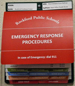 Every classroom in the Rockford Freshman Center contains a booklet of procedures for emergencies