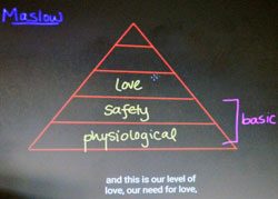 Morse's class studies how Maslow's hierarchy of needs applies to students' ability to learn