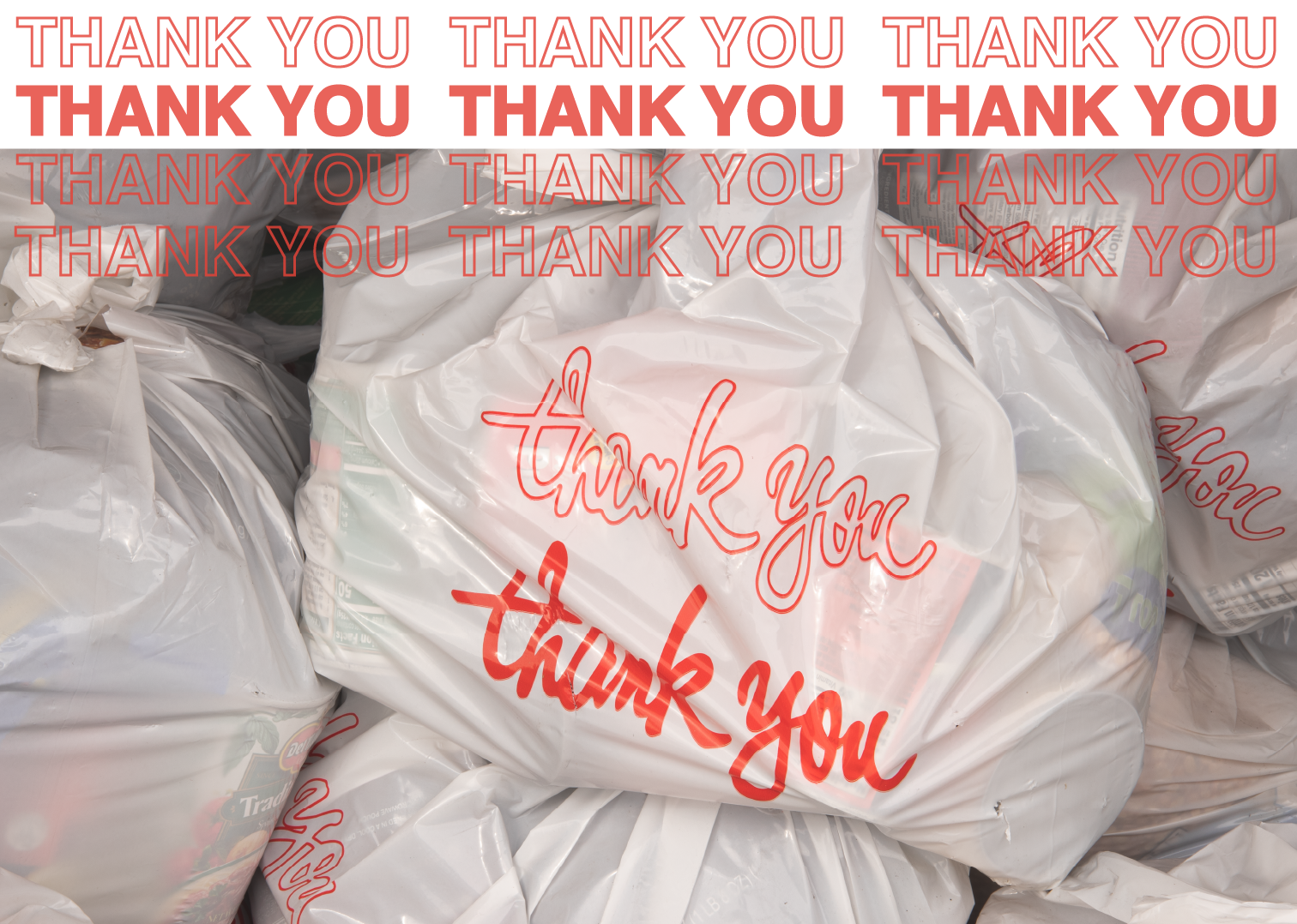 A grocery bag that says thank youon the side.