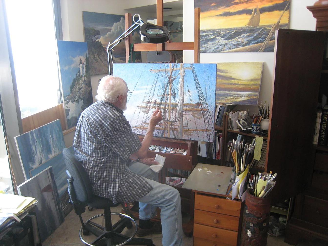 Jim paints.