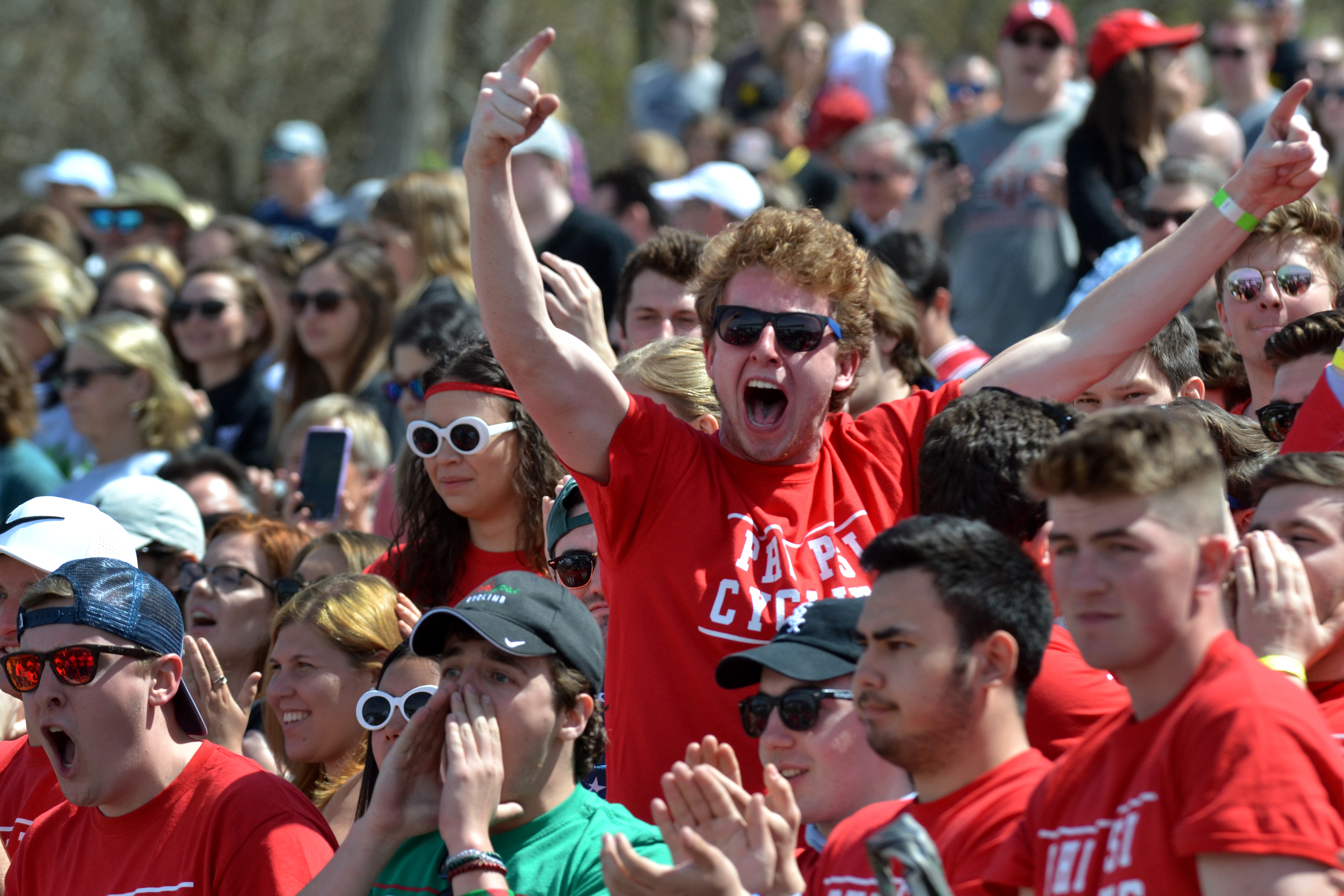 Fans of Phi Kappa Psi cheer April 13, 2019, at the men's Little 500 at Bill Armstrong Stadium. The IU and the IU Student Foundation announced last month there will be no fans allowed at the race on May 26.