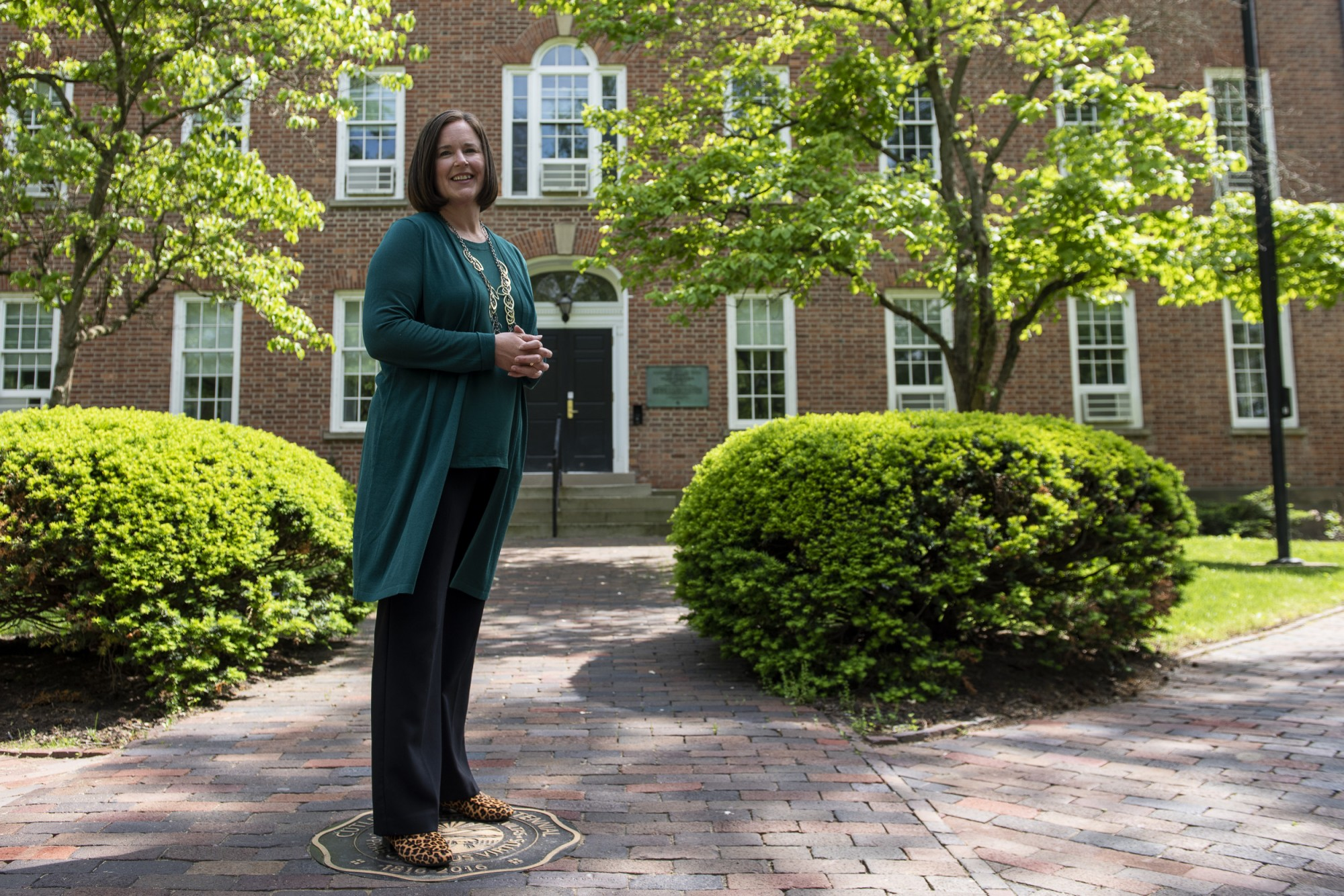 Ohio University's Interim Vice President for Student Affairs, Jenny Hall- Jones poses for a portrait outside of Cutler Hall on May 18, 2021.
