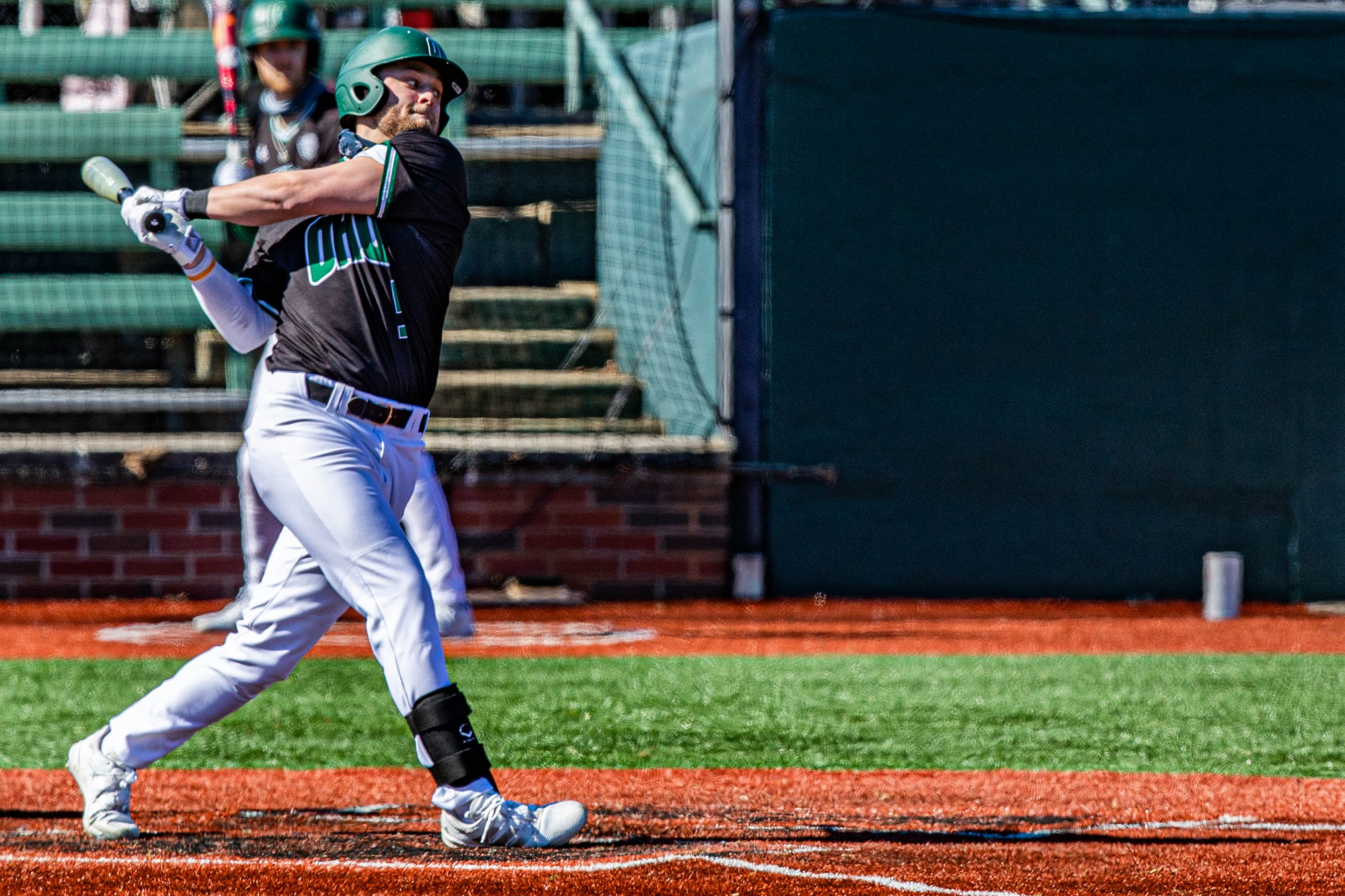 Ohio's Isaiah Peterson (#5) swings against Milwaukee in the eighth inning of the last game ending with a winning score of 3-2 on Sunday, March 7, 2021. (FILE)