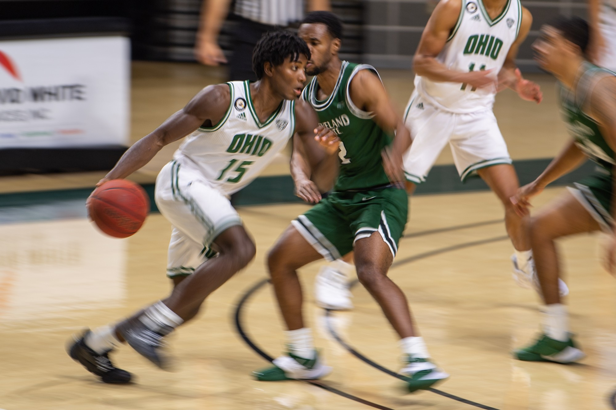 Ohio's Lunden McDay (#15) dribbles the ball during the Ohio versus Cleveland State match in The Convo on Sunday, Dec. 6, 2020. Ohio won 101-46. (FILE)