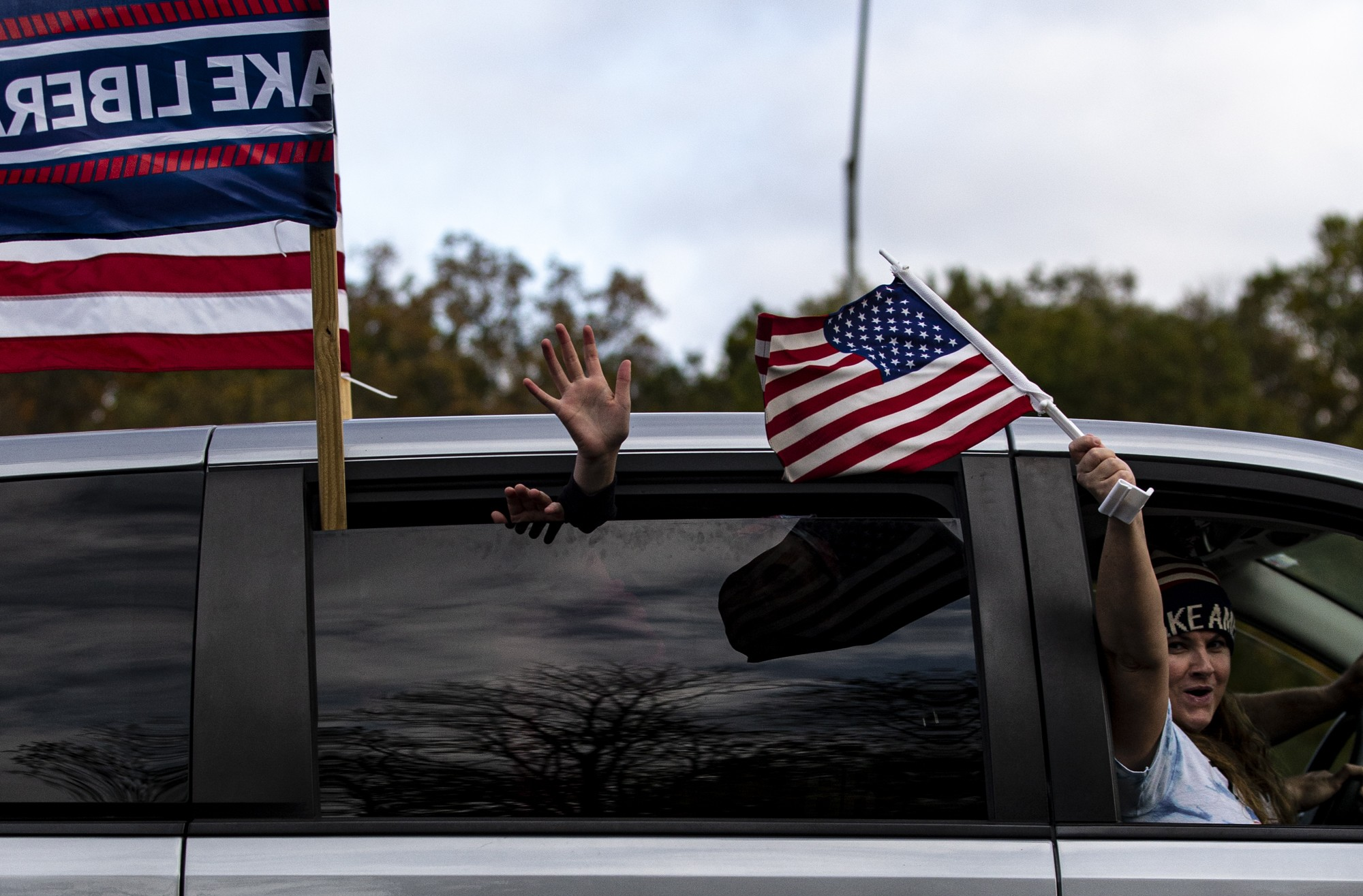 Over a thousand people took to I-275 around Cincinnati, OH on Saturday, Oct. 24, 2020 in support of President Trump's re-election on. This is the second time this campaign season that I-275 has hosted such an event, the first being on Saturday, Sept.12. (Jesse Jarrold-Grapes | For The Post)