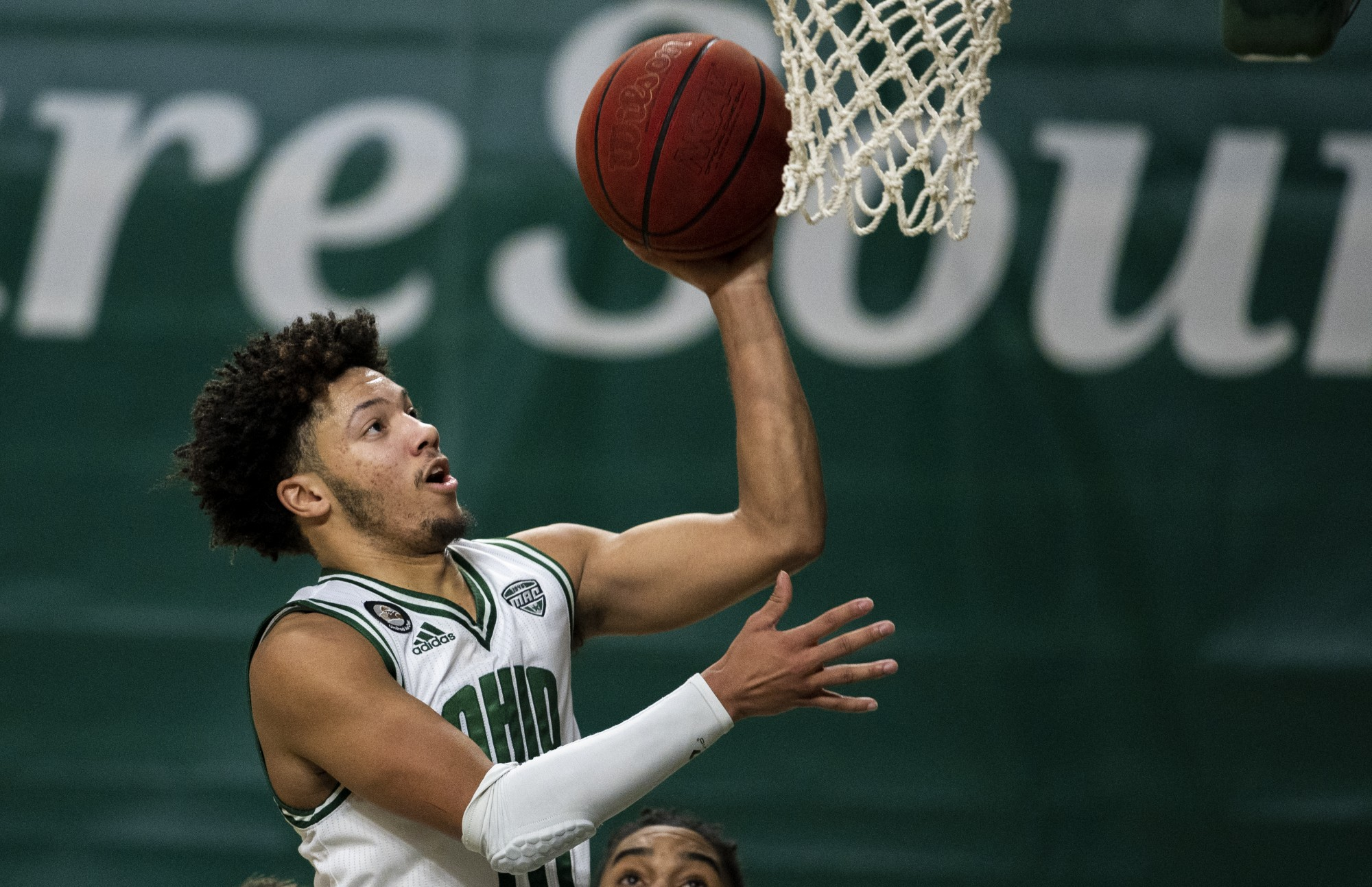 Ohio University's Mark Sears (10), lays the ball in the basket after a fast break during the home game against Western Michigan University on Jan. 26, 2021 in Athens, Ohio.