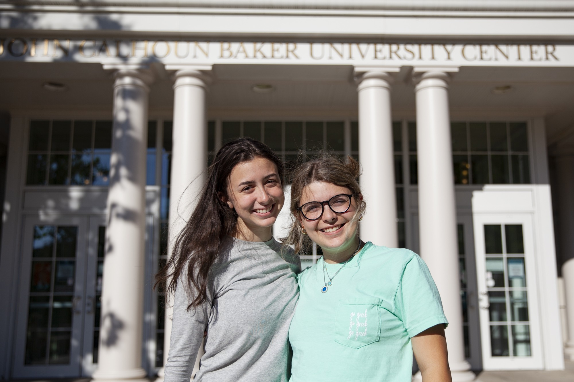 Twins Sam, left, and Sophia, right, in front of Baker University Center at Ohio University on Tuesday, Sept. 7, 2021. The twins were born on Sept. 11, 200,1 and have felt personally tied to the events of that day for their entire lives.