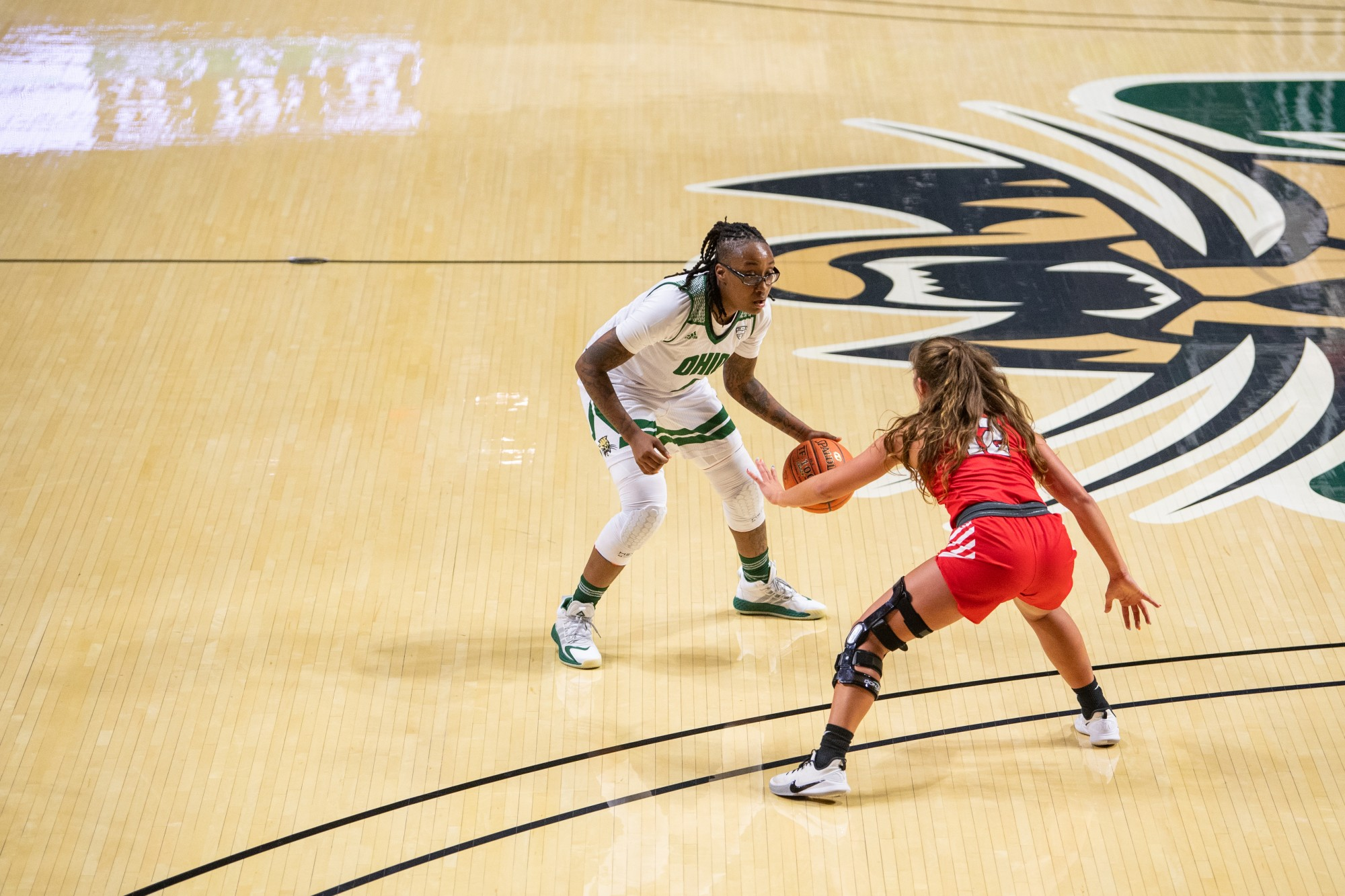Ohio's Erica Johnson dribbles the ball during Ohio's match against Liberty on Wednesday, Nov. 25, 2020, in The Convo. Ohio beat Liberty 76-72.