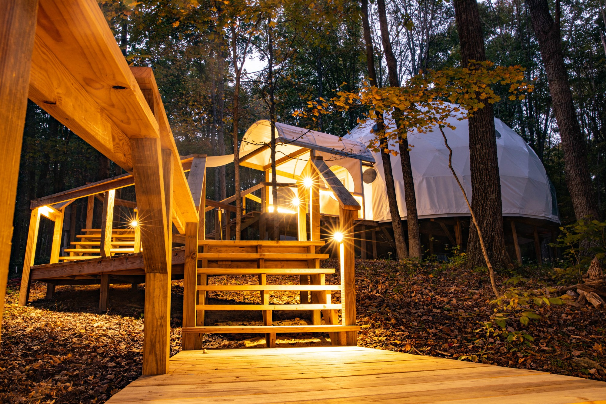 The dome of Geode Yoga + Fitness stands out in the dense forests of Chillicothe, Ohio, on Monday, Oct. 5, 2020.