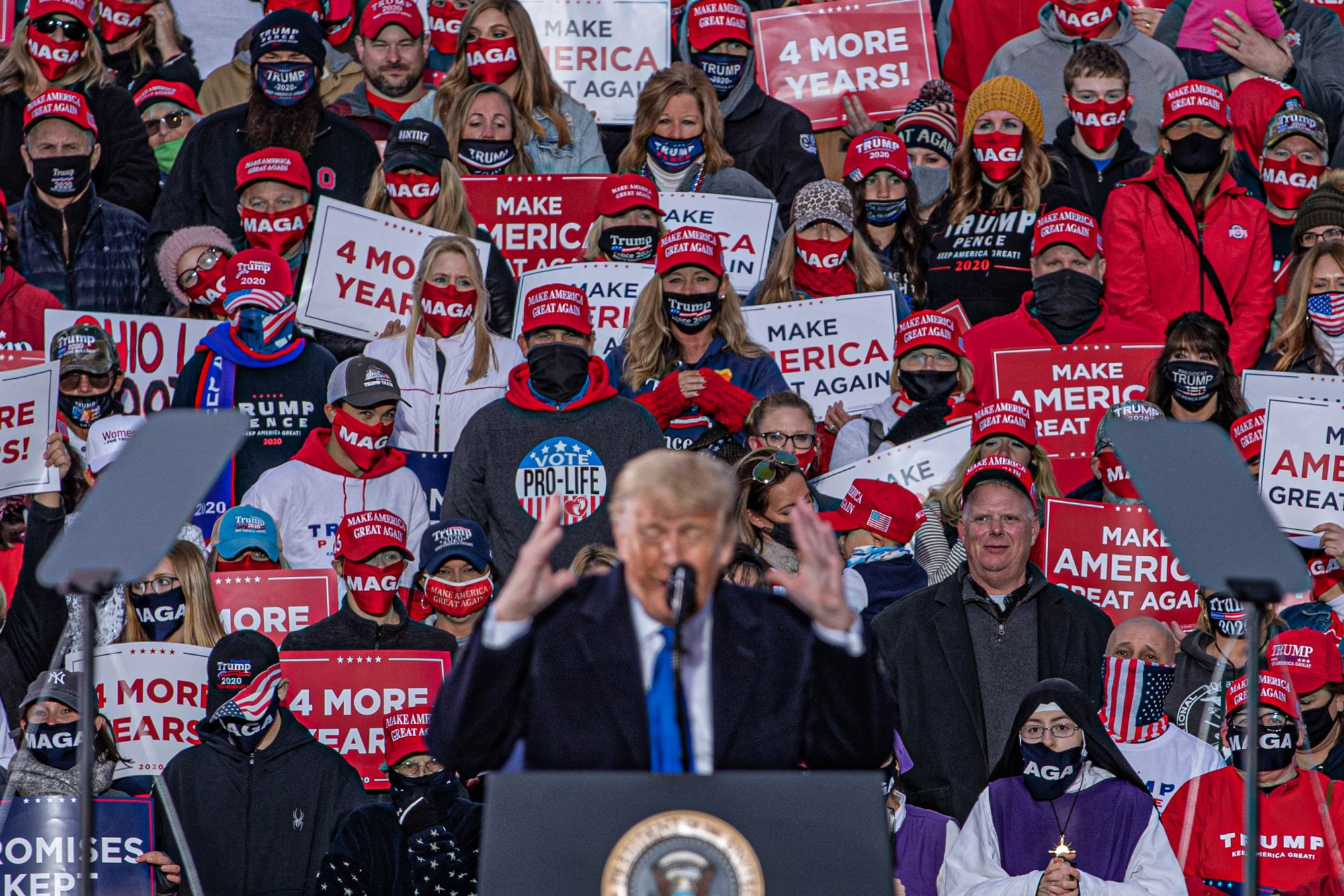President Trump delivers remarks at an enthusastic rally in Circleville, Ohio, on Saturday, Oct. 24, 2020. Trump's main themes for his Saturday rally centered around the return of Big Ten Football while touching on Circleville's dominant blue collar labor force.