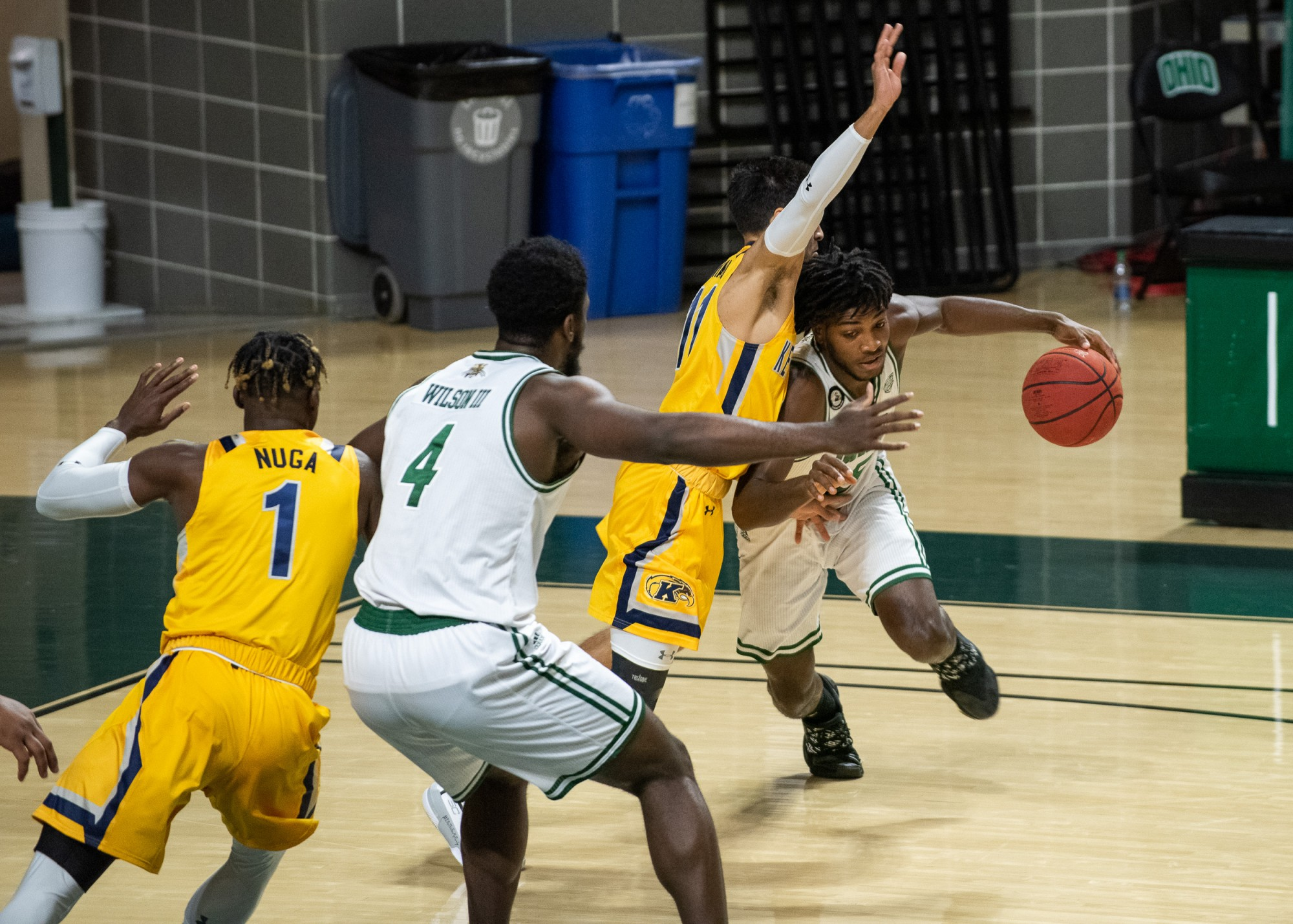 Ohio University guard Lunden McDay (15) drives to the basket while Kent State guard Giovanni Santiago (11) tries to stop him on Saturday, Jan. 16, 2021 at the Convocation Center. Ohio University lost 89- 79 to Kent State.