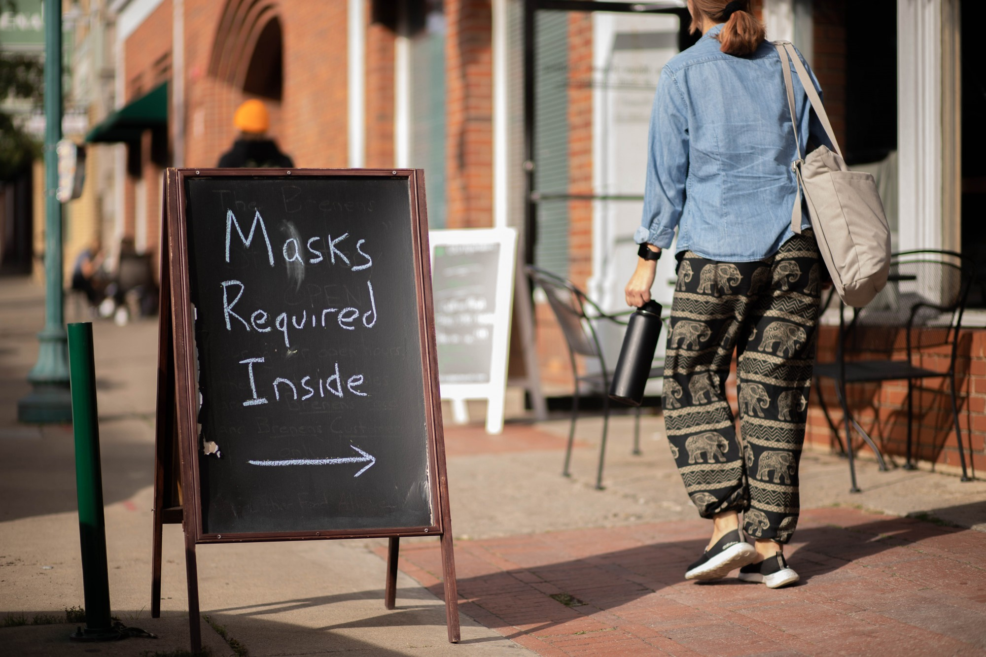 A sign that reads 'Masks Required Inside' outside of Brenen's Coffee Cafe on Court Street.
