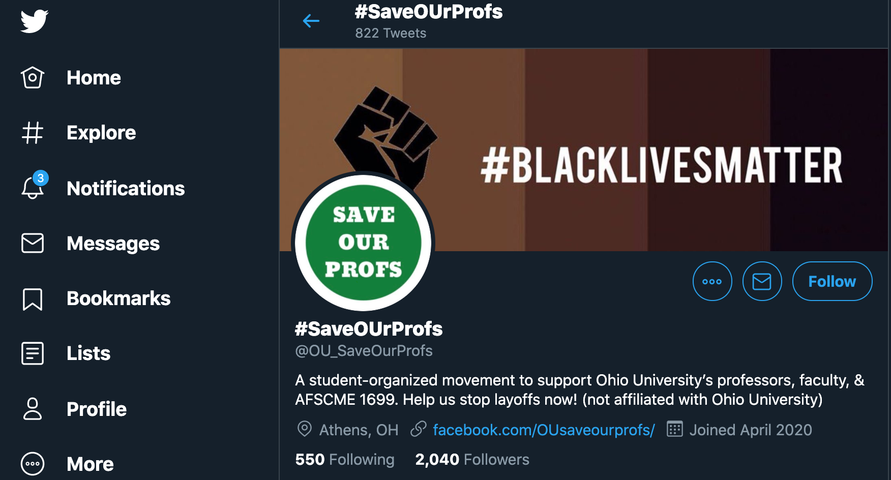A Twitter page created out of support for Ohio University union members emerges in lieu of several layoffs.