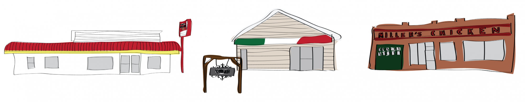 Illustrations of Athens local restaurants (left to right): Larry's Dawg House, Tavolino and Miller's Dawg House