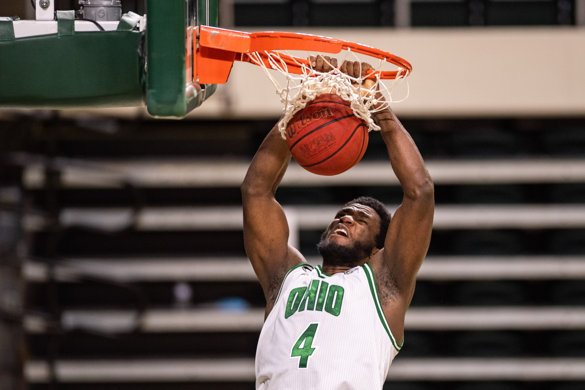 Ohio's Dwight Wilson III (#4) dunks the ball during the Ohio versus Purdue Northwest game in The Convo on Thursday, Dec. 10, 2020.