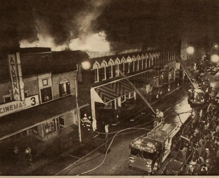 An archived photo from the fire that burnt down Smart's old barbershop, Your Fathers Moustache in the spring of 1984.