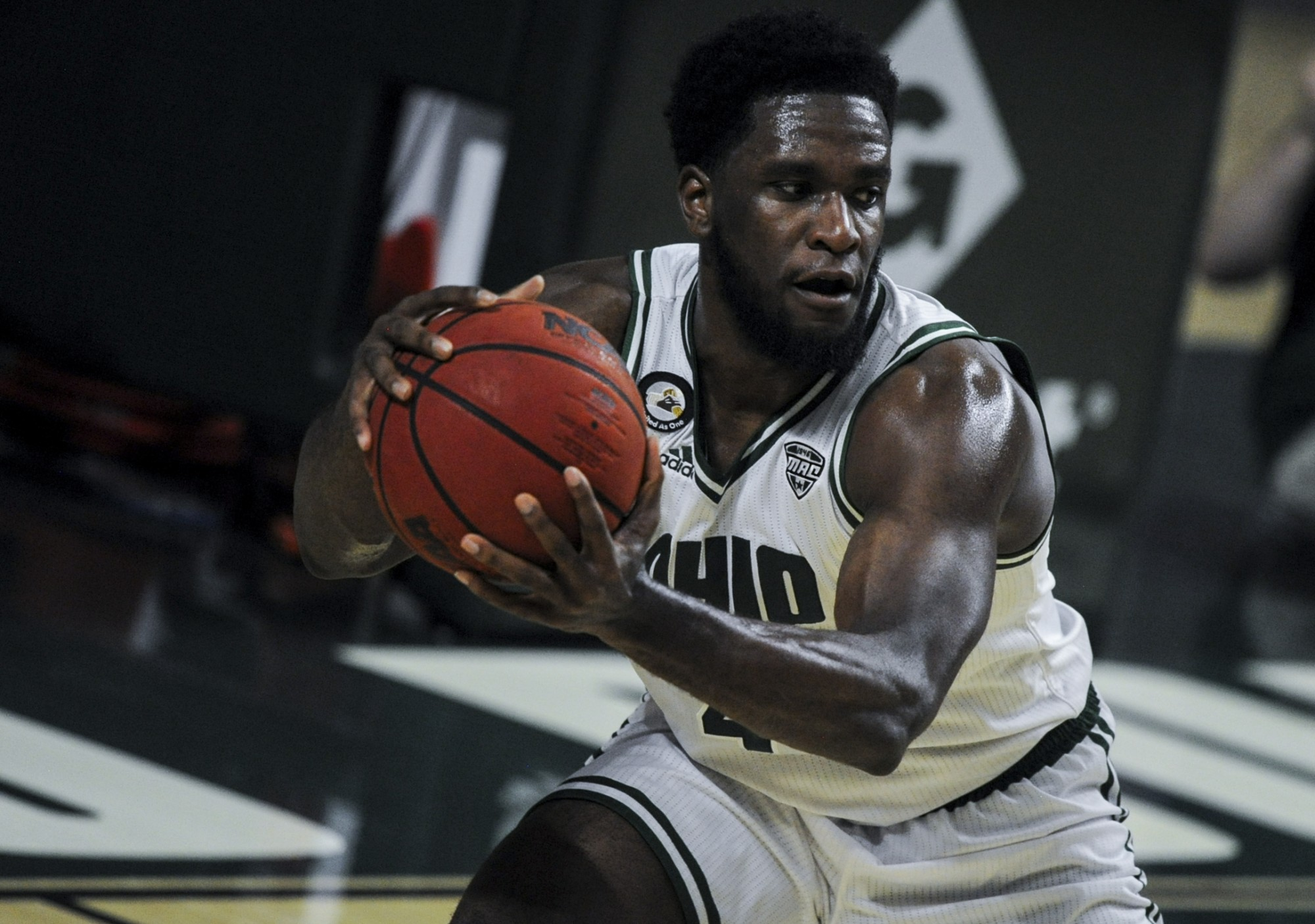 Ohio University's Dwight Wilson III grabs the rebound during the home game against Northern Illinois University on January, 5 2021 in Athens, Ohio.