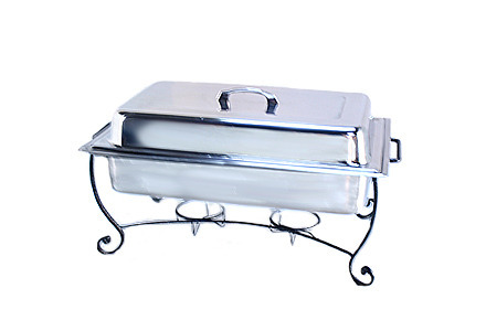8 qt. Rectangular Stainless Steel Chafing Dish with Wrought Iron Stand