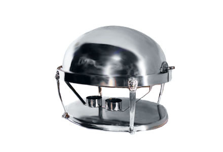 8 qt. Round Roll-Top Silver Chafing Dish