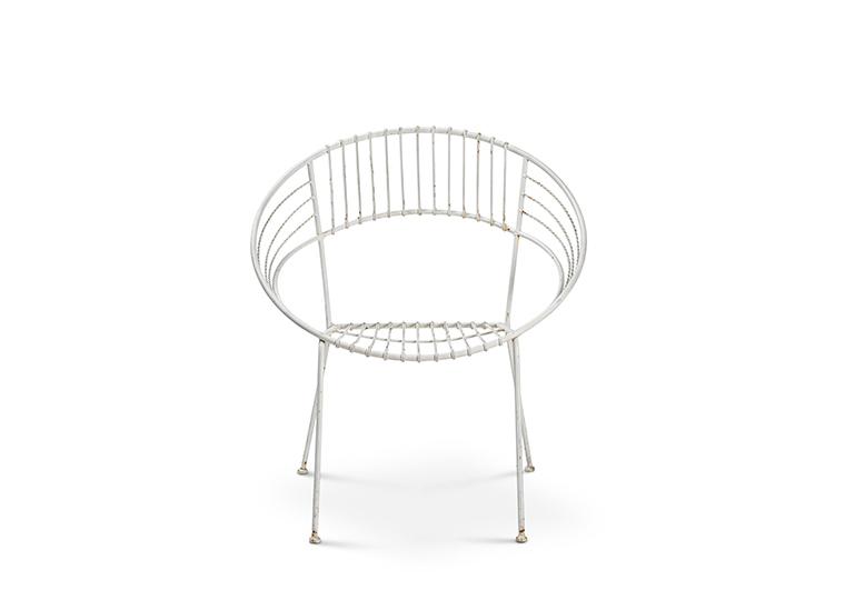 White Metal Hoop Chair