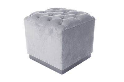 Alexis Velvet Cube Ottoman, Ice Blue