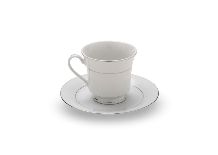 Silver Rim Coffee Cup & Saucer