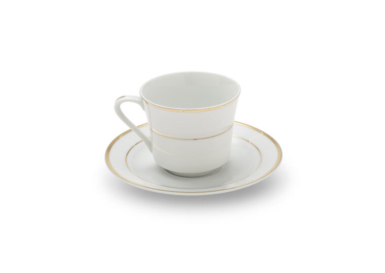 Gold Rim Coffee Cup & Saucer