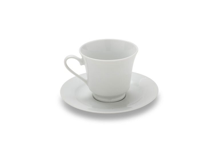 Solid White Coffee Cup & Saucer
