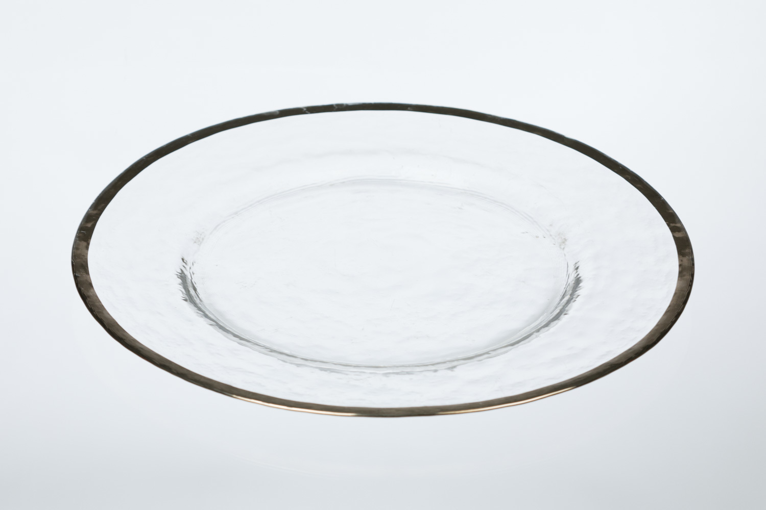 Glass Silver Rim Hammered Charger