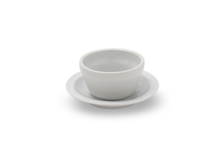 Solid White Bouillon Cup & Saucer