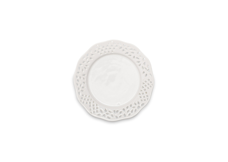 Solid White Eyelet Salad Plate