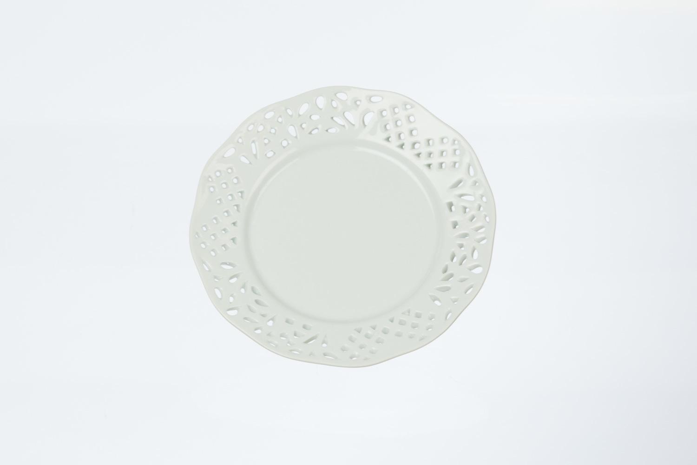 Solid White Eyelet Salad/Dessert Plate