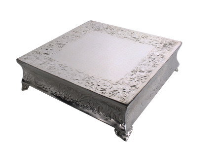 "Square 20"" Silver Cake Plateau"