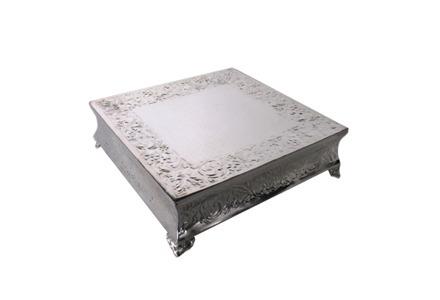 "Square 14"" Silver Cake Plateau"