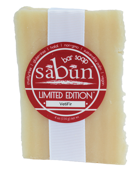 Sabun Limited Edition-VetiFir bar soap - Front View - by Soapy Soap Company