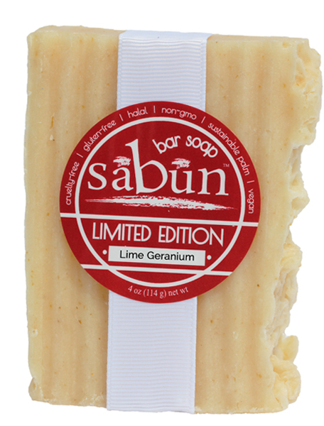 Sabun Limited Edition-Lime Geranium soap - Front View - by Soapy Soap Company