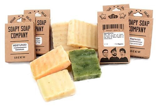 assorted mini soap samples