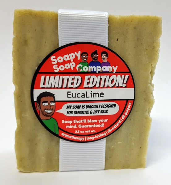 Soapy Soap Company's Limited Edition - Moisturize! - EucaLime bar soap with spirulina.