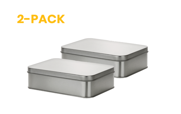 2 pack of metal silver tin boxes; containers