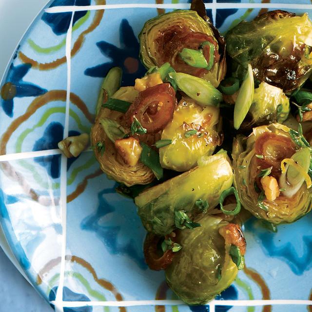 Chorizo & Scallop Bites with Lemon-Wasabi Yogourt Roasted Brussels ...