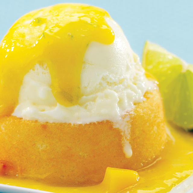 Dessert Shells with Frozen Yogourt & Mango Sauce | Foodland: Ontario