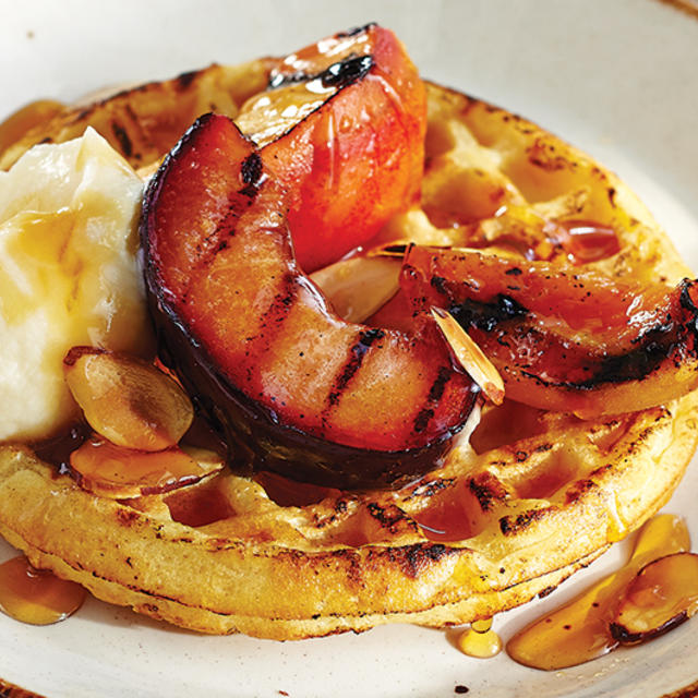 Grilled Stone Fruit & Waffles with Honeyed Mascarpone | I.G.A.: West