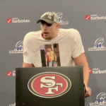 George Kittle Celebrated the Championship Win With a Shirtless Jimmy G T-shirt