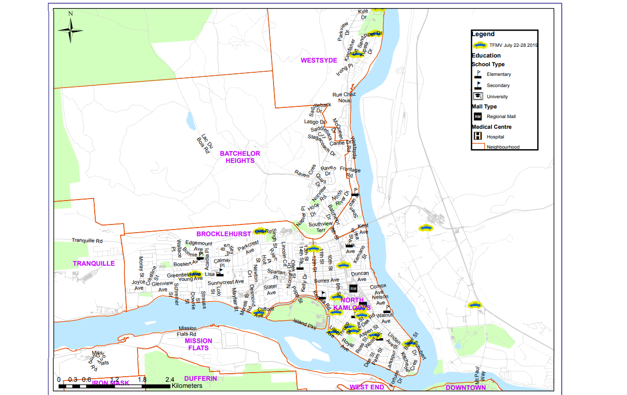 Map Thefts From Motor Vehicles Week Of July 22 2019 Cfjc Today Kamloops British