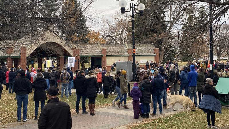 """Nearly 400 people take in """"Freedom Rally"""" at Galt Gardens"""