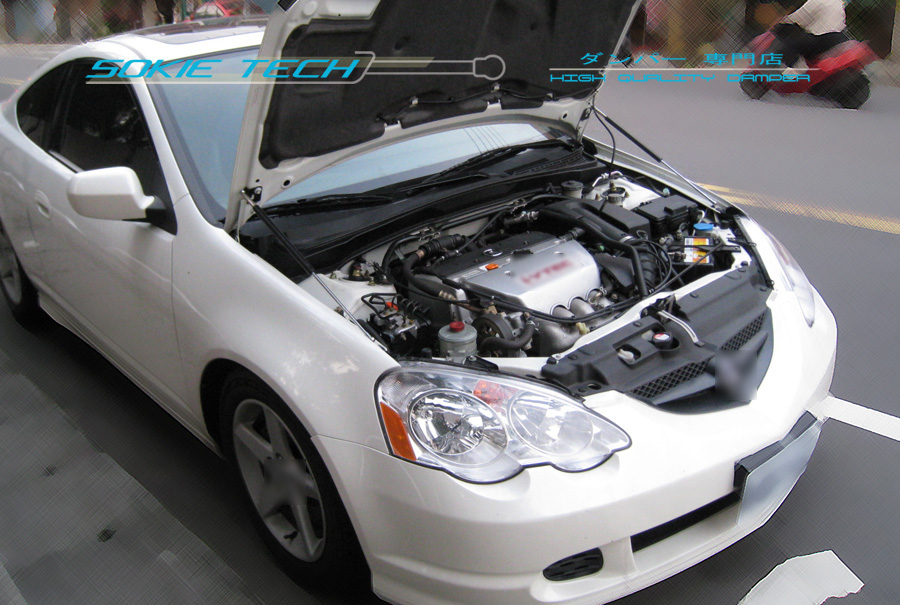 05-09 Ford Mustang GT CS Silver Carbon Strut Gas Lift Hood Shock Damper Kit