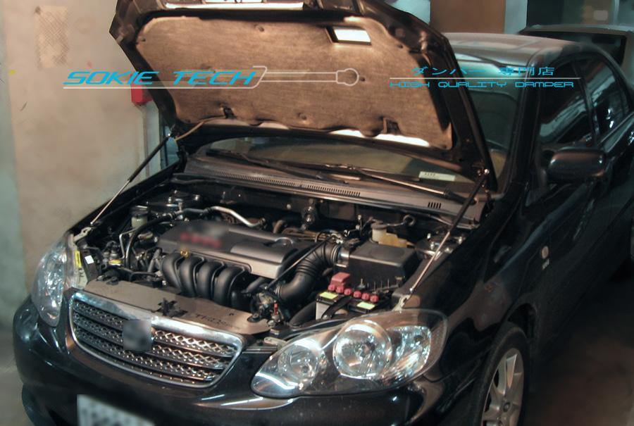 02 07 Toyota Corolla Altis Black Strut Hood Shock Lift