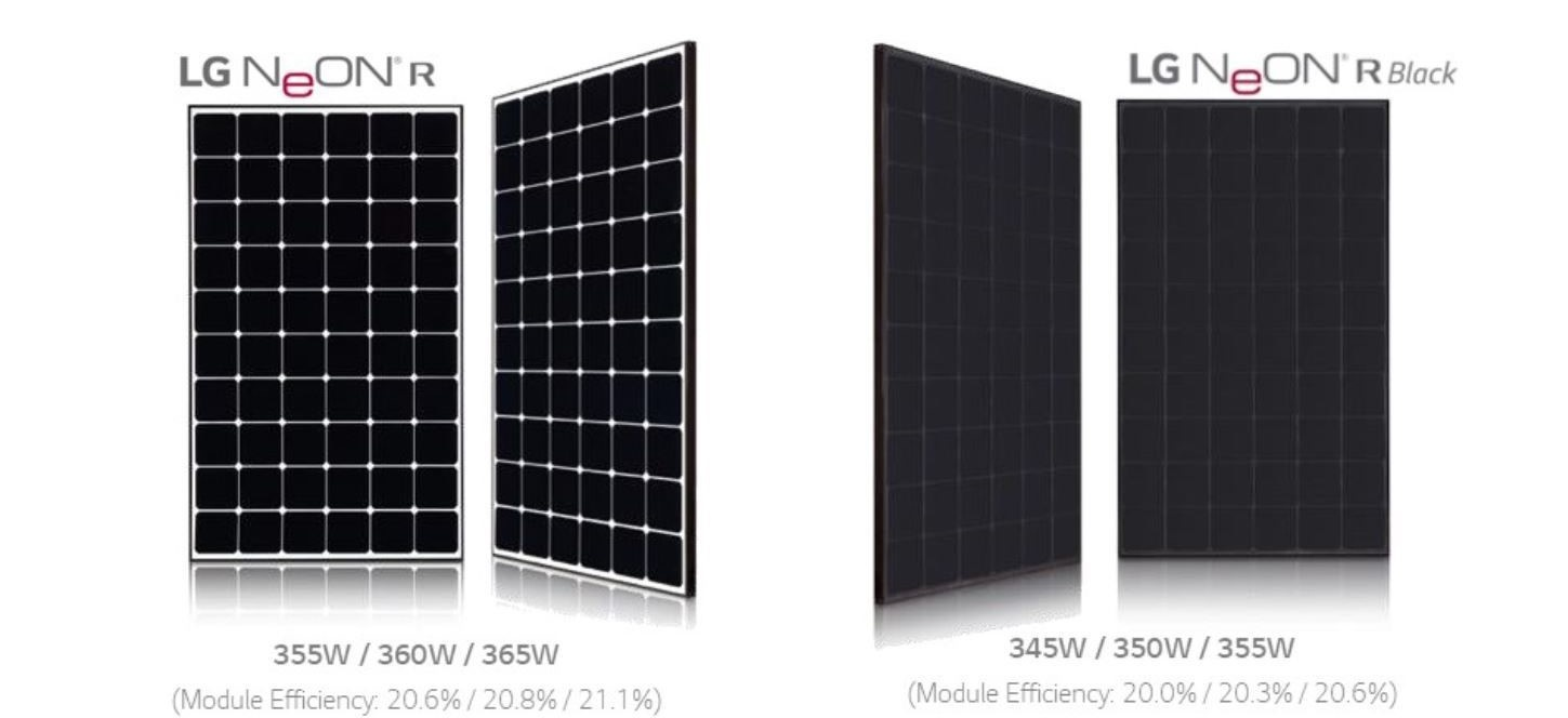 LG Solar Neon R Panel Options