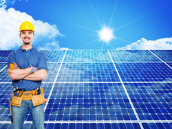 Solar energy specialist at the job site